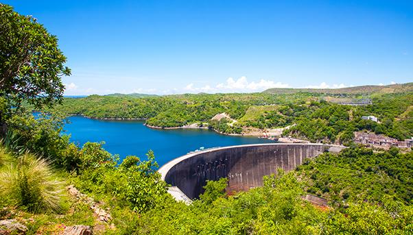 Kariba, Zimbabwe: a dam that produces hydroelectric power