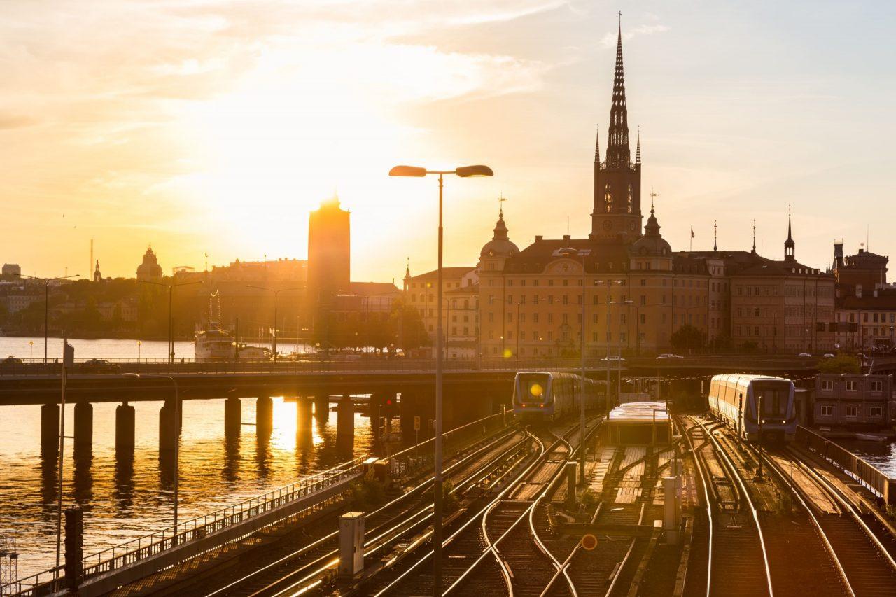 Railway tracks and trains near Stockholm